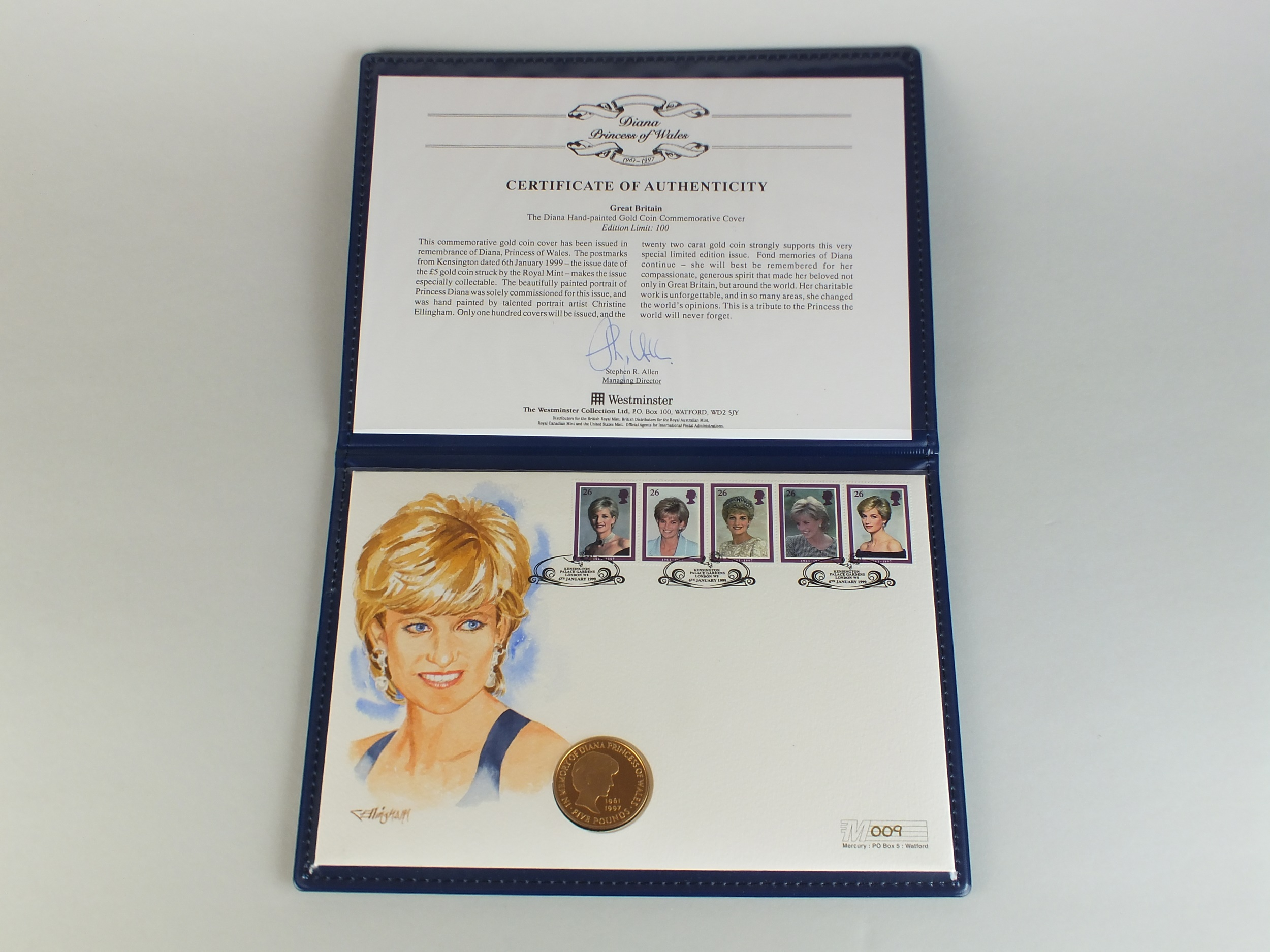 Diana Princess of Wales hand painted £5 gold coin