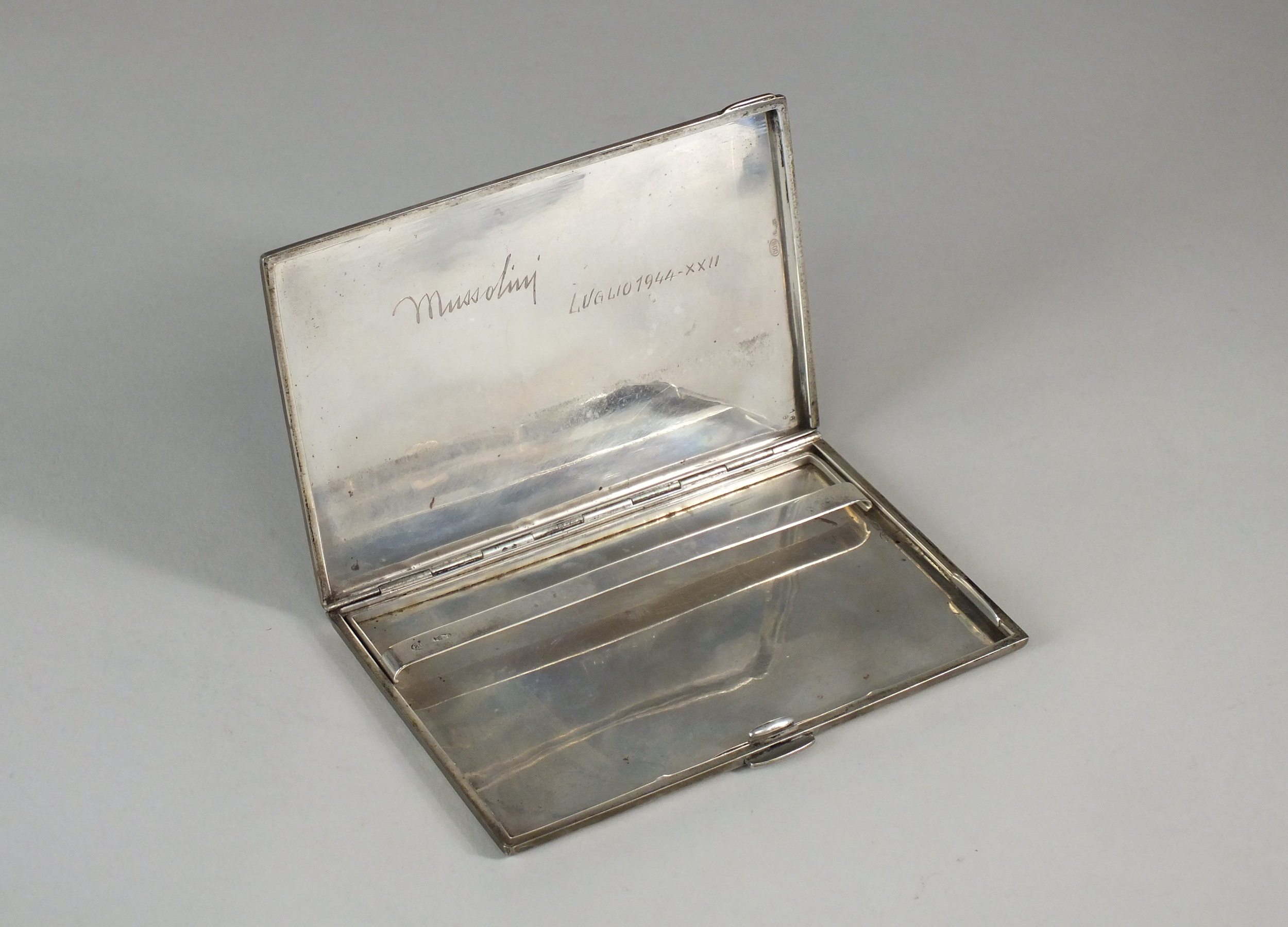 Italian cigarette case owned by Mussolini - signature Halls Fine Art