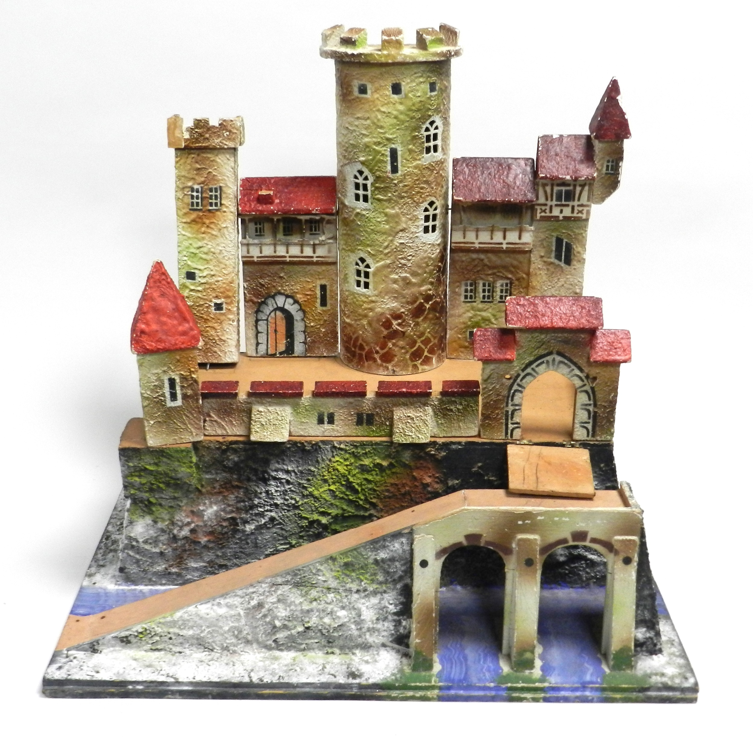 An early-mid 20th century wooden model of a castle