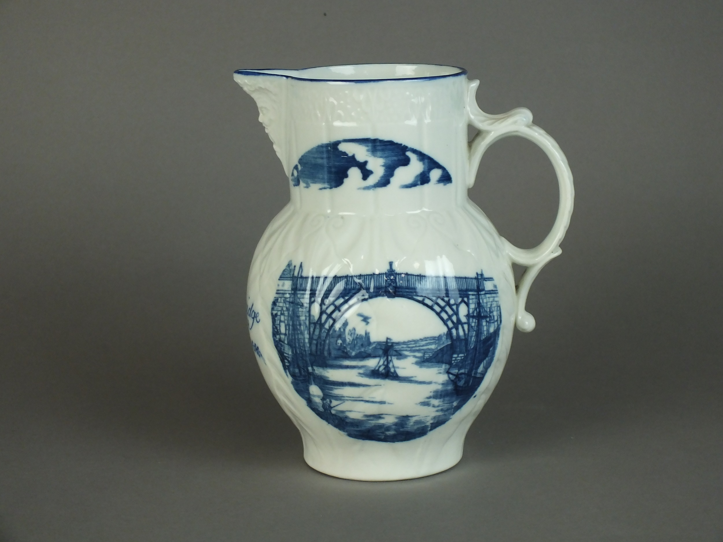 Caughley Jug depicting Ironbridge