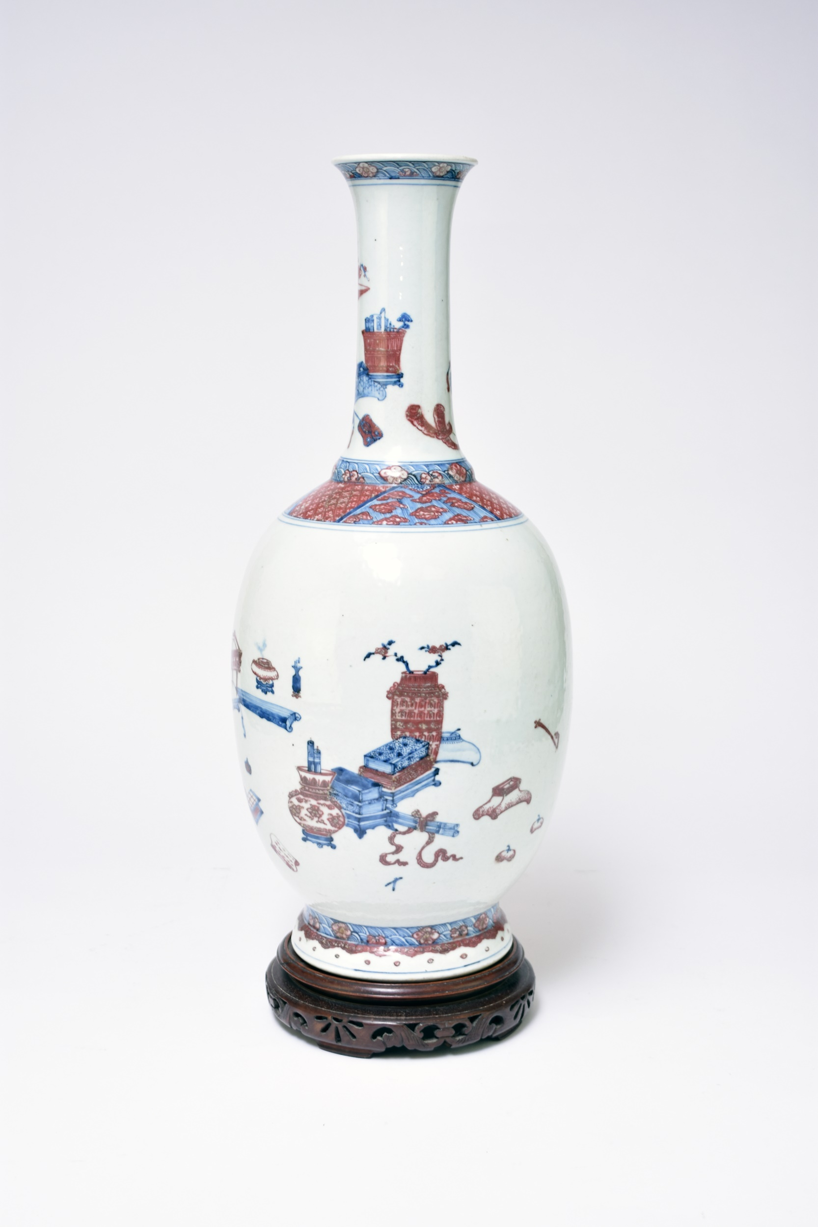 Chinese underglaze blue and copper red bottle vase Halls Fine Art