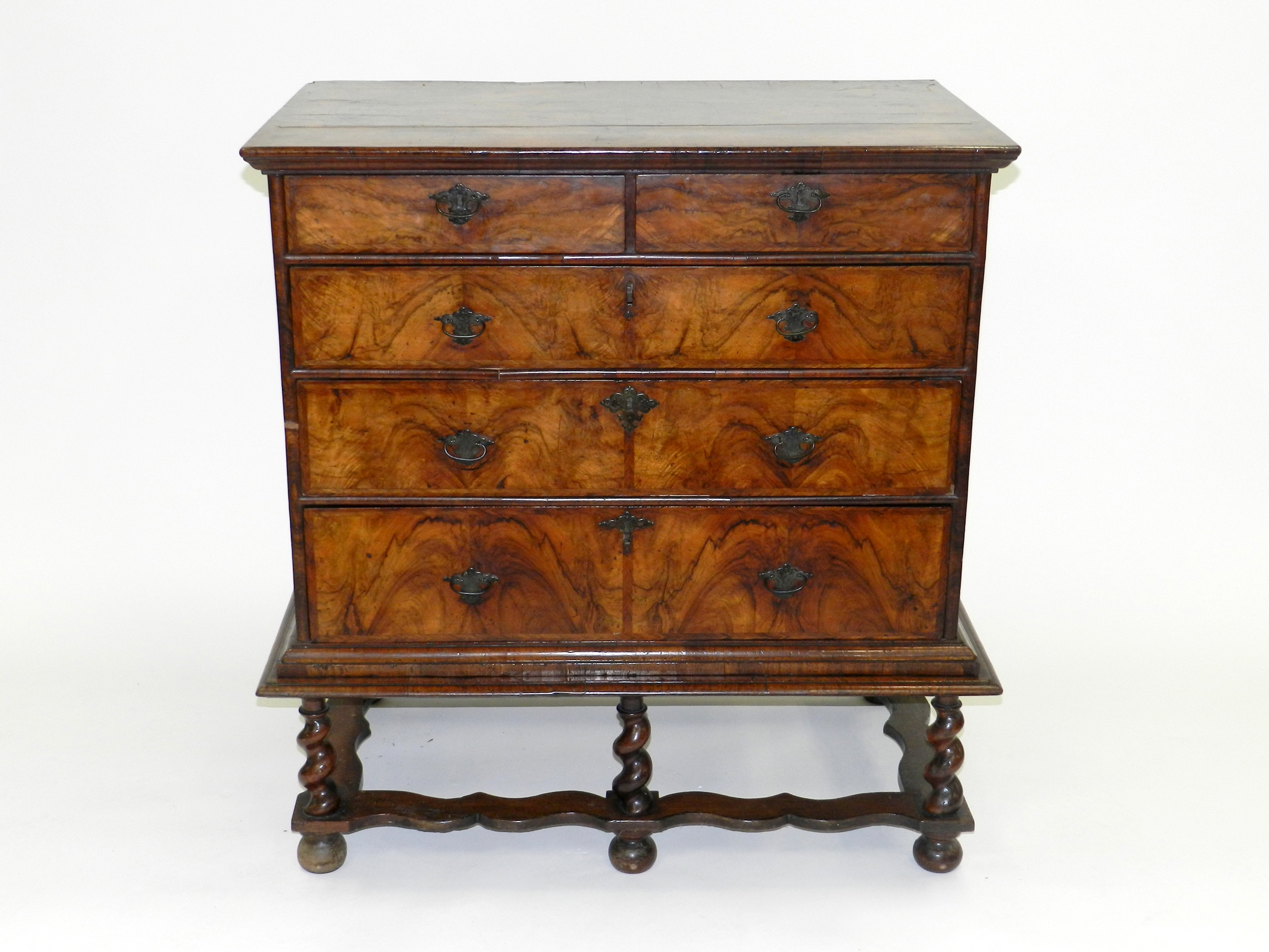 George I walnut chest on stand