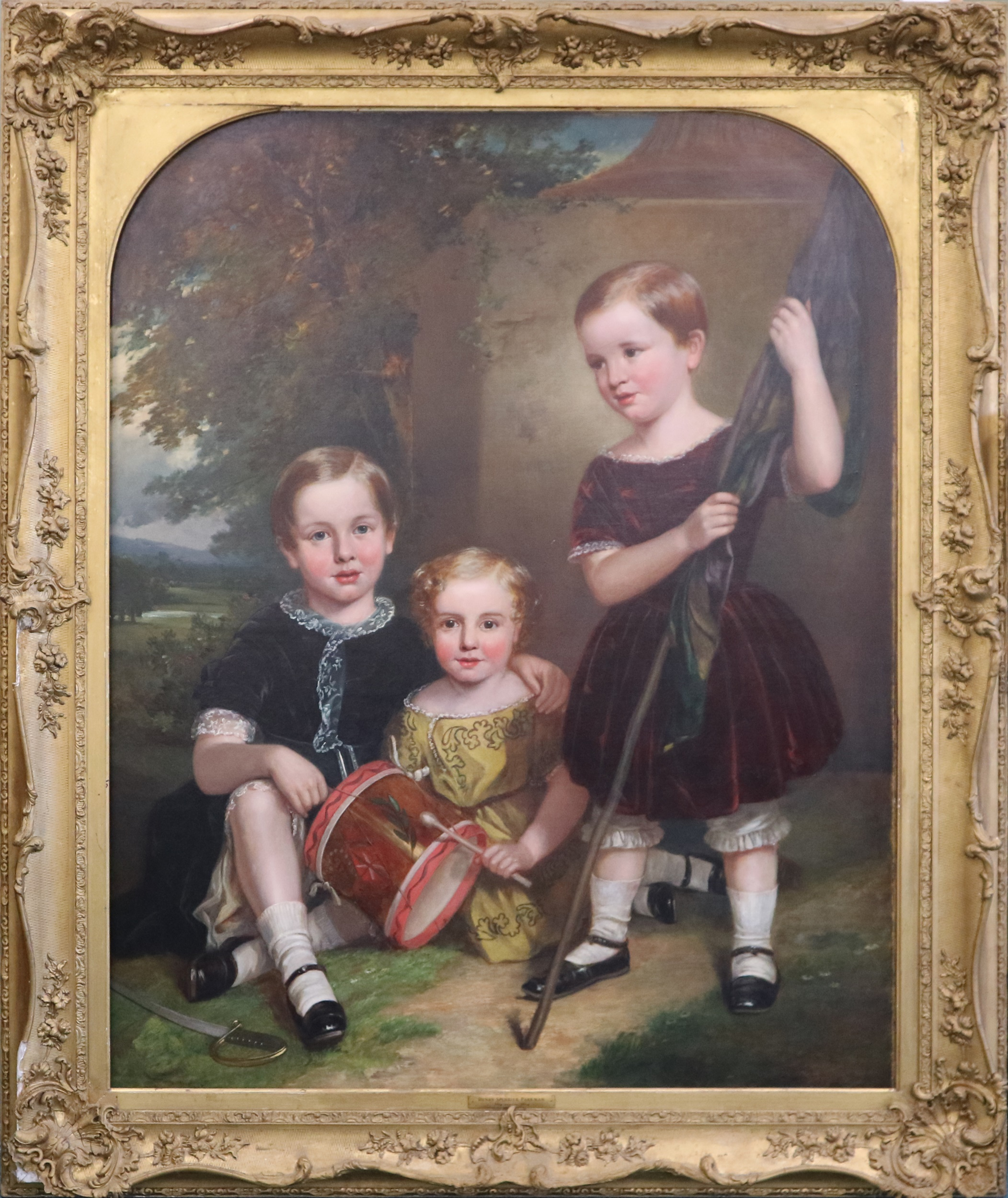 Firmstone children depicted in the family portrait shown attributed to Harry Spurrier Parkman framed