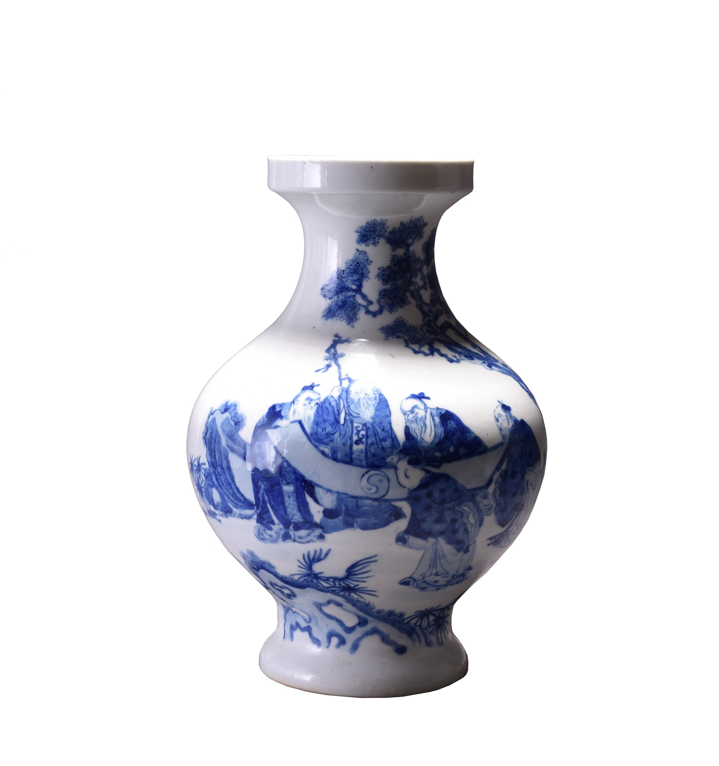 A beautiful Qianlong mark and period blue and white vase decorated with scholars. Estimate: £1,000-1,500