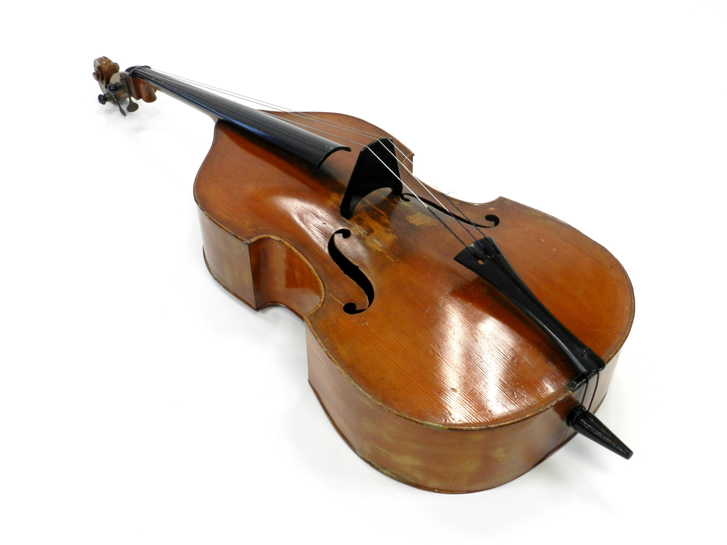 "A three-string double bass, maker unknown, 70""."