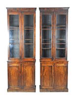 229 - A pair of Regency rosewood narrow bookcases,...