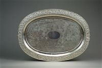 Lot 96-A Chinese Export Silver Oval Tray, Wang Hing