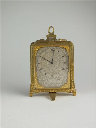 526 - A mid-19th century gilt brass strut timepiece