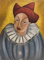 139 - Irene Lagut (French, 1893 - 1994),  Pierrot, oil on canvas