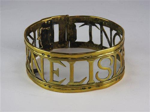 492 - A brass dog collar dated 1760