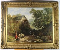 Lot 53-J Adams, watermill, oil on canvas