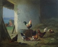 Lot 115-Cornelius Van Leemputten, Hens in a barn, oil on panel
