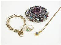 Lot 22-A 9ct gold bracelet and a collection of jewellery