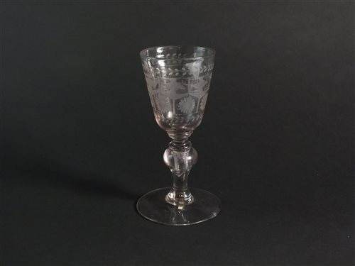 Lot 15-An early 19th century goblet with baluster knop stem