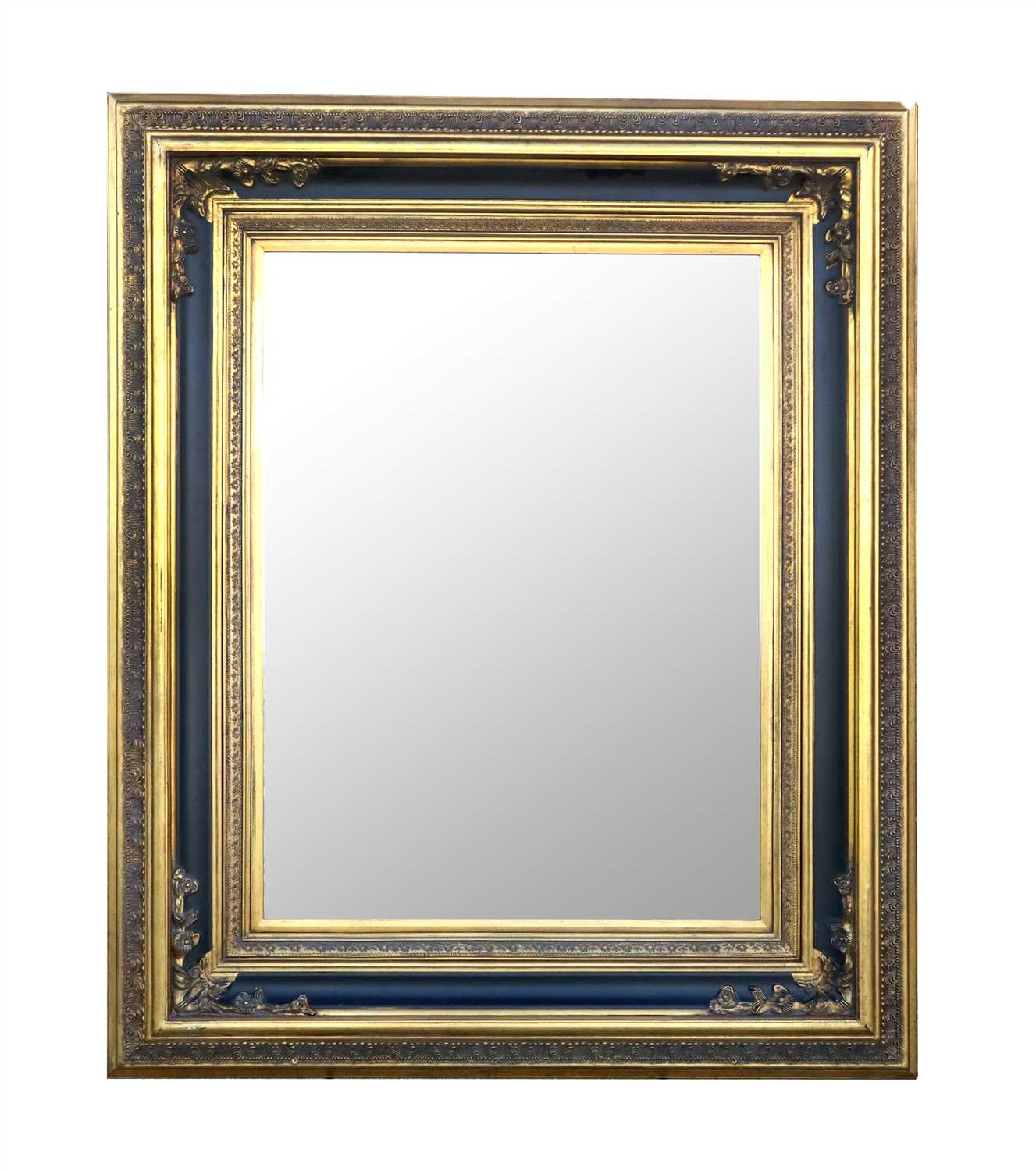 Lot 995-A very large decorative reproduction gilt framed wall mirror