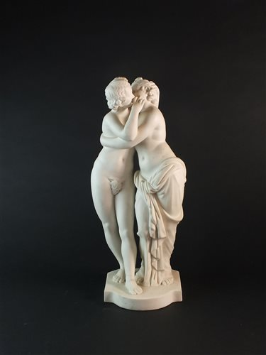 Lot 53-A Minton parian group of Cupid and Psyche