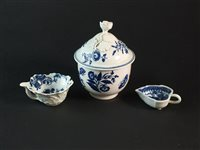 Lot 37-Three pieces of Worcester blue and white porcelain