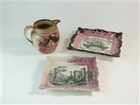 Lot 38-Two pink splashed lustre plaques and a jug