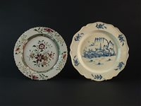 Lot 31-A salt-glazed polychrome plate and a pearlware plate