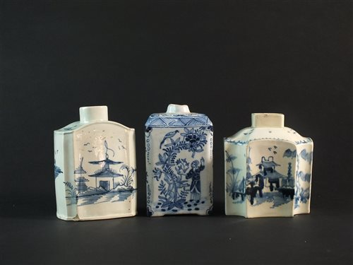Lot 27 - A Dutch delft tea caddy and two English pearlware caddies