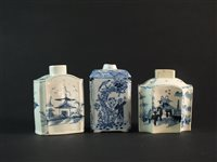Lot 27-A Dutch delft tea caddy and two English pearlware caddies