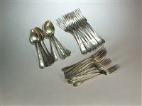 Lot 1-A set of German silver cutlery