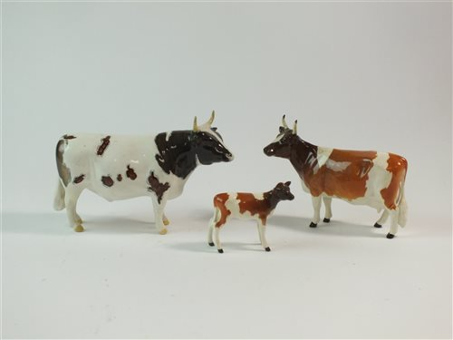 A family group of three Beswick Ayrshire cattle