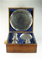 Lot 48-A cased Victorian silver tea & coffee service, salver and tray