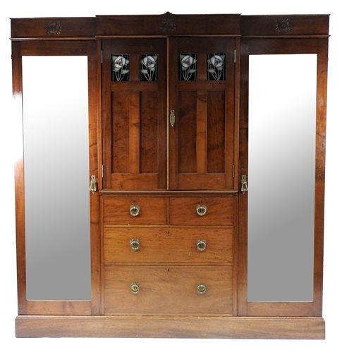 Lot 167-A Glasgow School Arts and Crafts mahogany bedroom suite