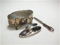Lot 38-A silver trinket box and two manicure instruments
