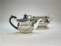 Lot 16-A silver teapot and sugar bowl
