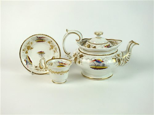 Lot 28-A Coalport style ornithological tea service