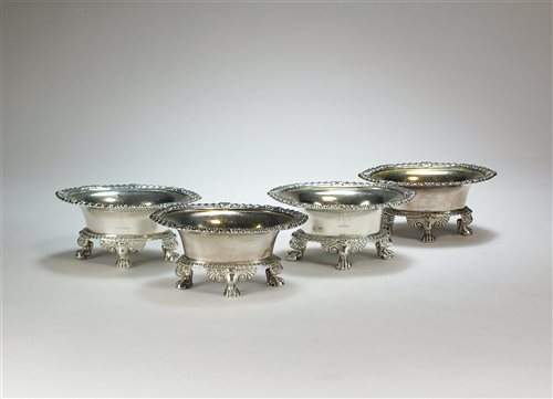 Lot 19-A set of four Paul Storr silver salts