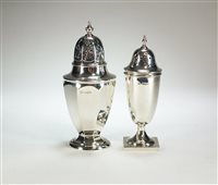 Lot 12-Two silver sugar casters