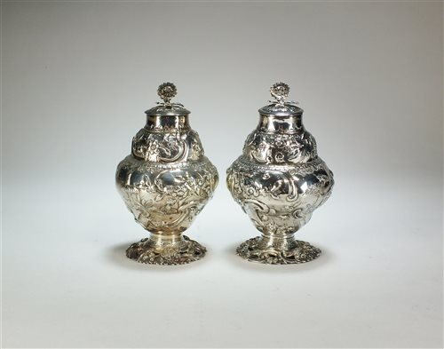 Lot 25-A pair of early George III silver tea caddies