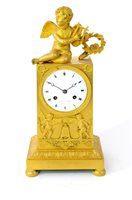 Lot 209-A French Empire ormolu mantel clock by Deniere and Matelin