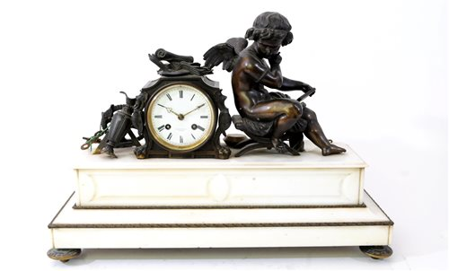Lot 207-A French bronze and white marble mantel clock by F.L. Hausburg, Paris