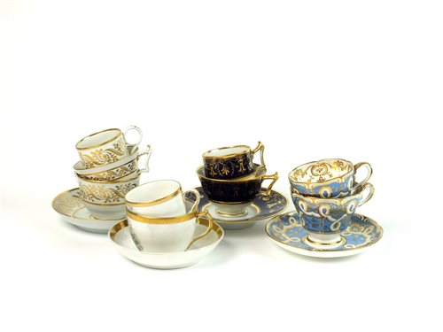 Lot 38-A collection of English porcelain trios including Barr, Flight & Barr Worcester