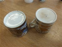 Lot 30-Five English porcelain coffee cans and a Worcester coffee cup