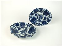 Lot 32-Two 18th century Bow porcelain blue and white dishes