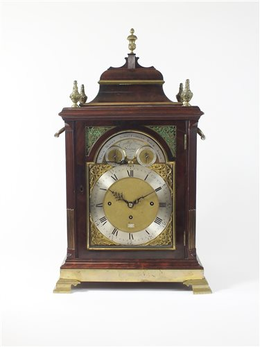 443 - Eardley Norton: A George III mahogany and gilt brass mounted musical bracket clock