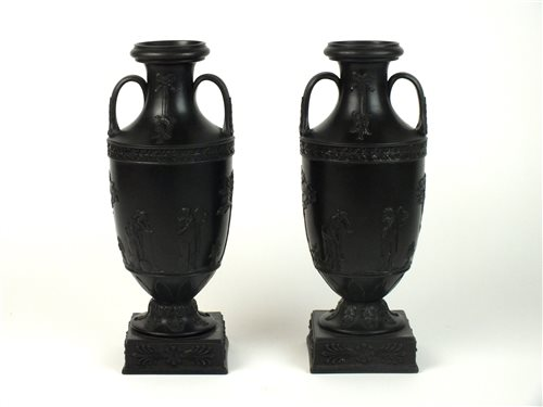 Lot 35-A pair of Wedgwood black basalt vases
