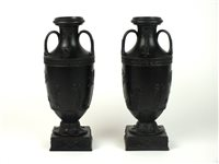 Lot 35-A pair of Wedgwood black basalt vases