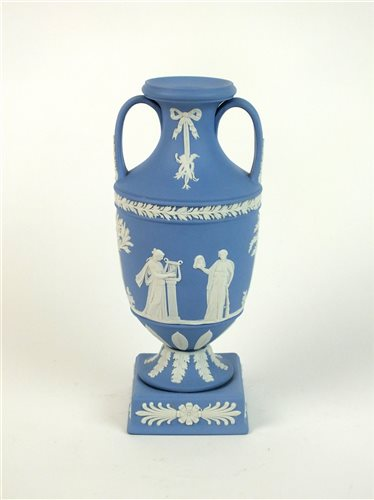 Lot 36-A Wedgwood blue and white jasperware vase