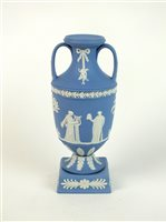Lot 36-A Wedgwood blue and white jasperware vase