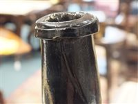 Lot 1-An 18th century sealed cylinder wine bottle for George Bickford, North Devon