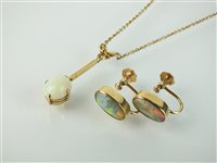 Lot 149-A pair of opal earrings and a necklace