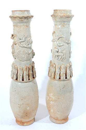 Lot 169 - A pair of Chinese qingbai funerary vases, Song dynasty