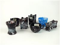 Lot 19 - A group of Victorian purple and blue malachite slag glass
