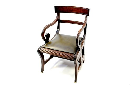 Lot 536 - A Regency fiddle back mahogany combined library armchair and metamorphic steps